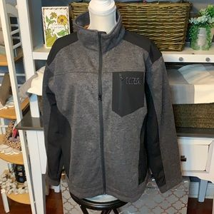 NRA Gray/Black Waterproof Jacket Size Large, EUC